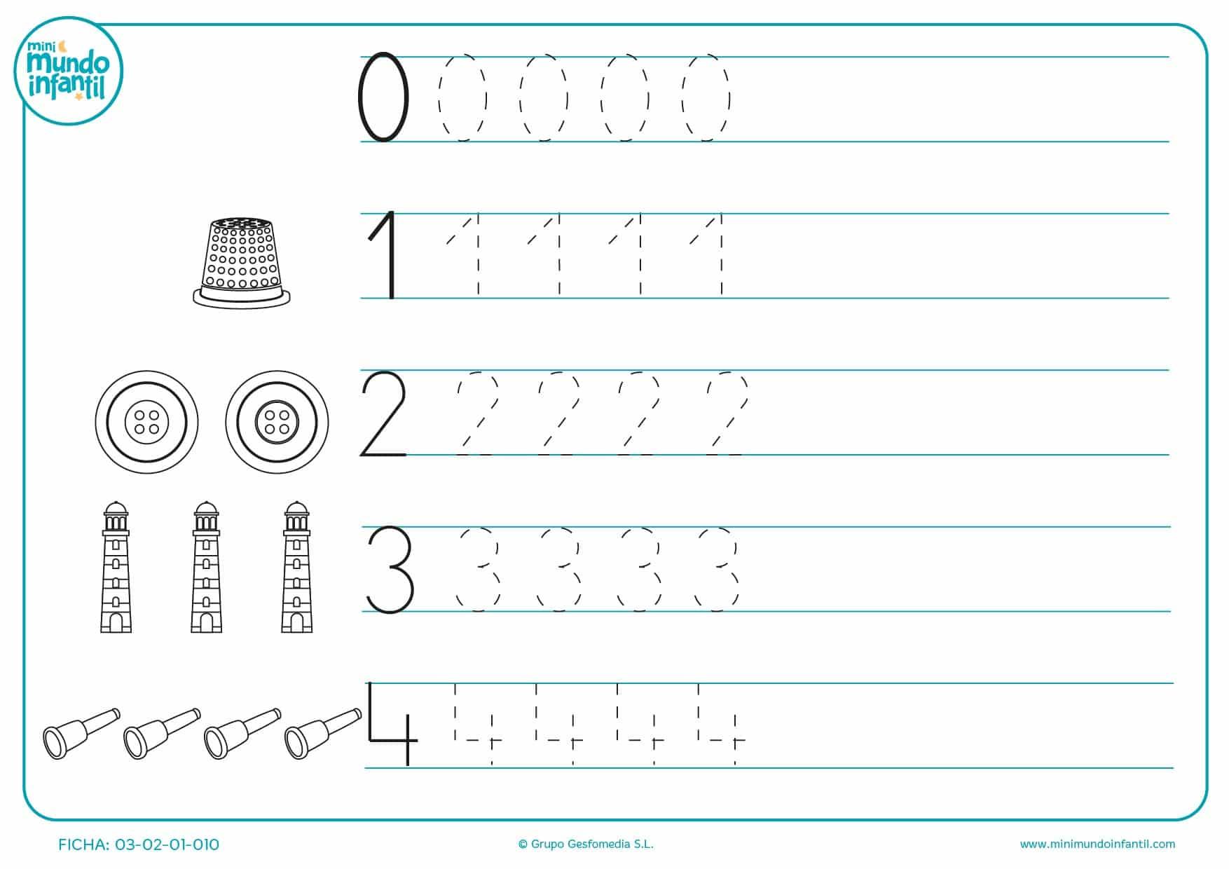 Ejercicio para aprender a trazar la forma de los números del 0 al 4