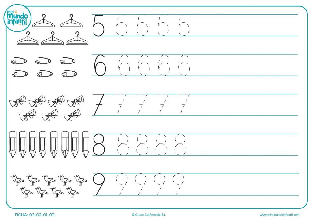 Plantilla de repetición de los números del 5 al 9 para preescolar