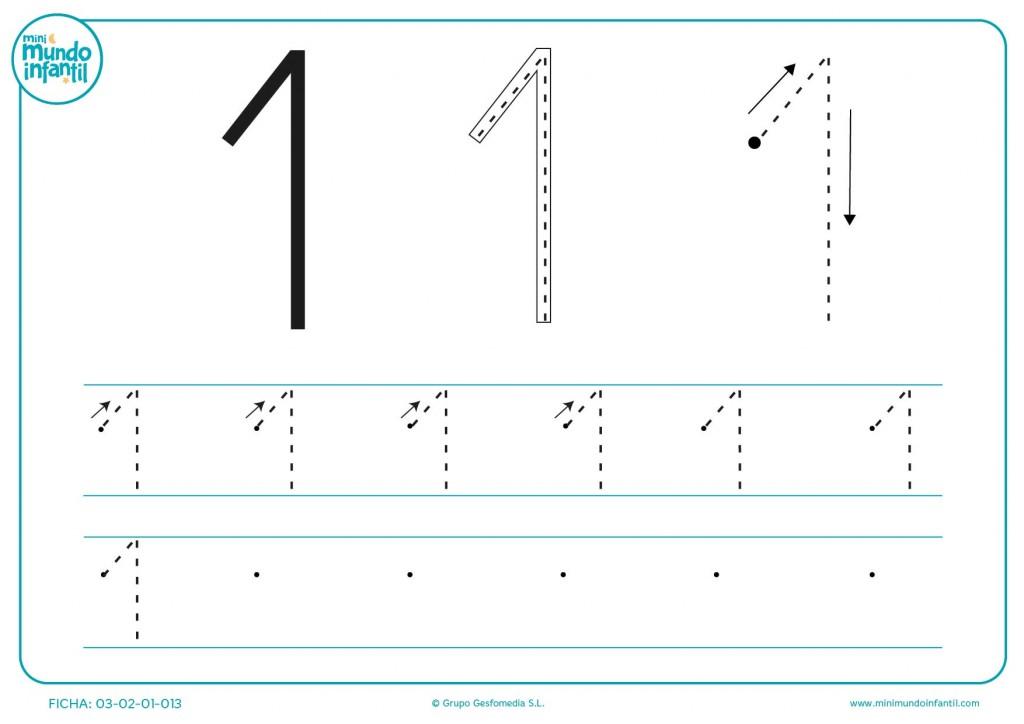 Diferentes combinaciones del número 1 para grafomotricidad para niños