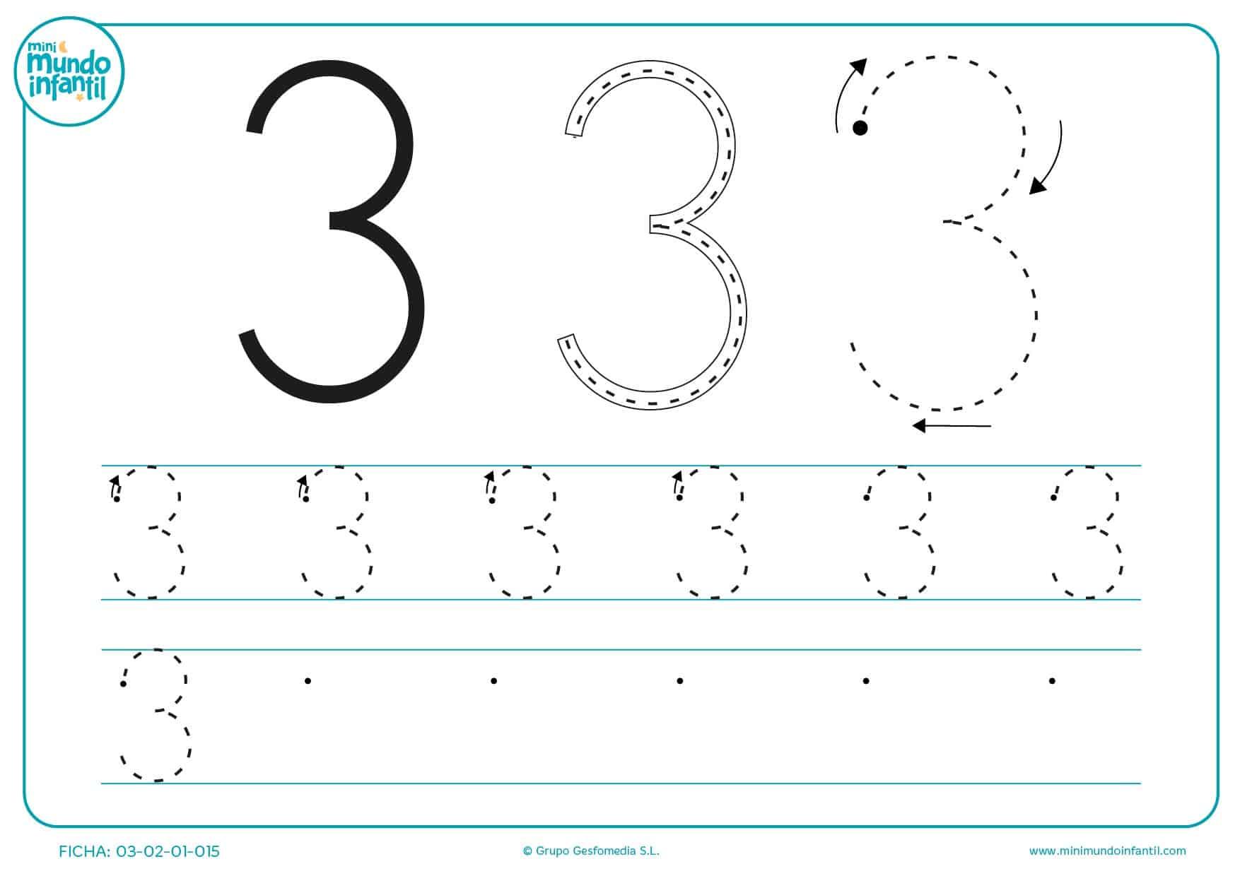 Repasar las líneas para aprender a trazar el número 3