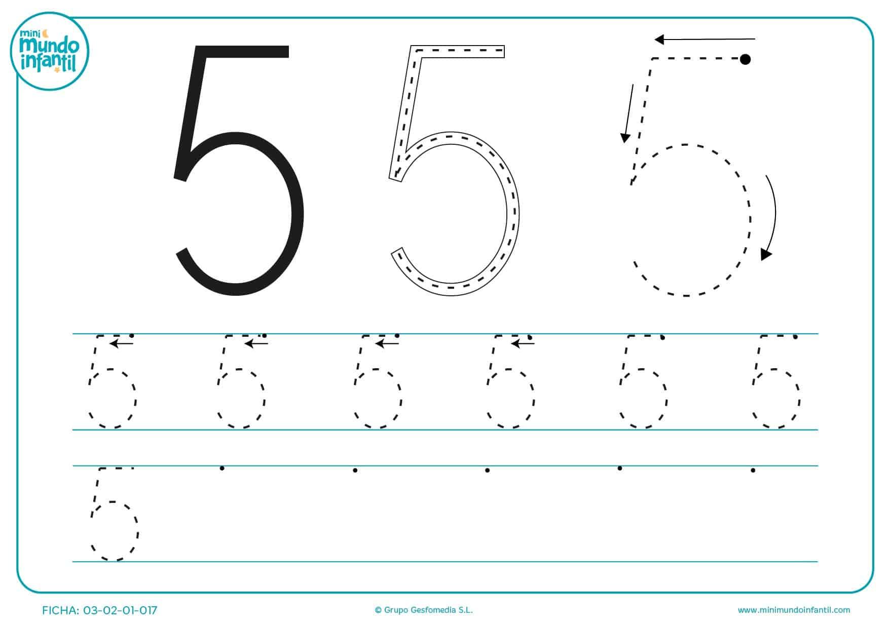 Seguir las líneas para aprender a trazar el número 5