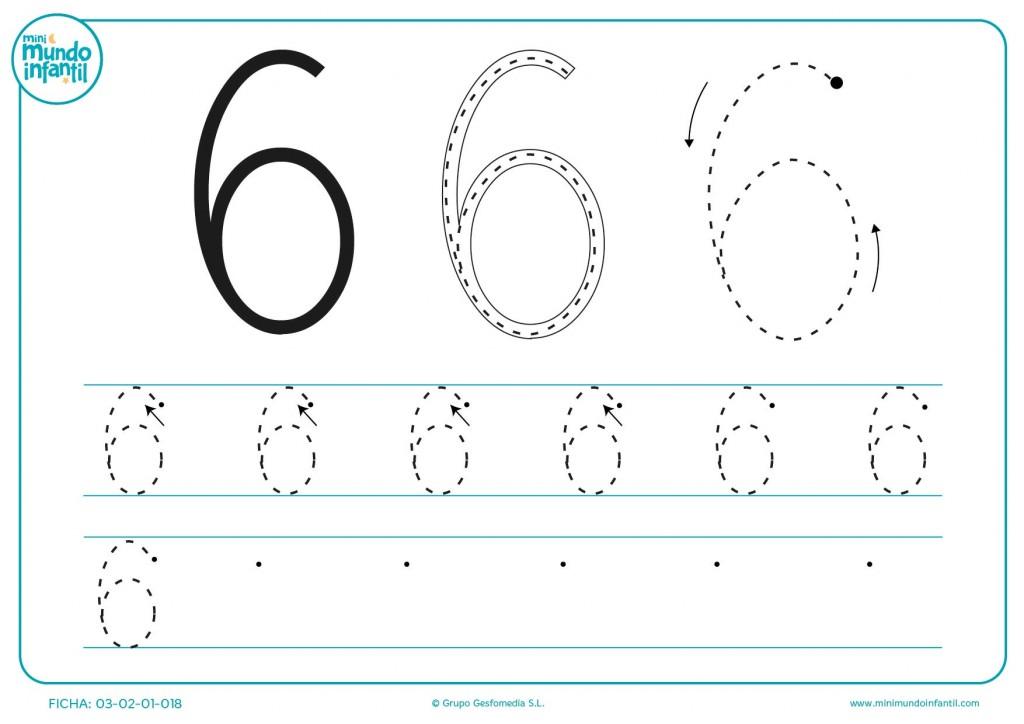 Practica y aprende con el número 6 grafomotricidad para niños