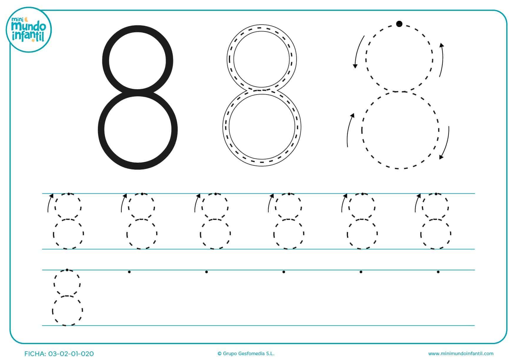 Continuarlas líneas para aprender a trazar el número 8