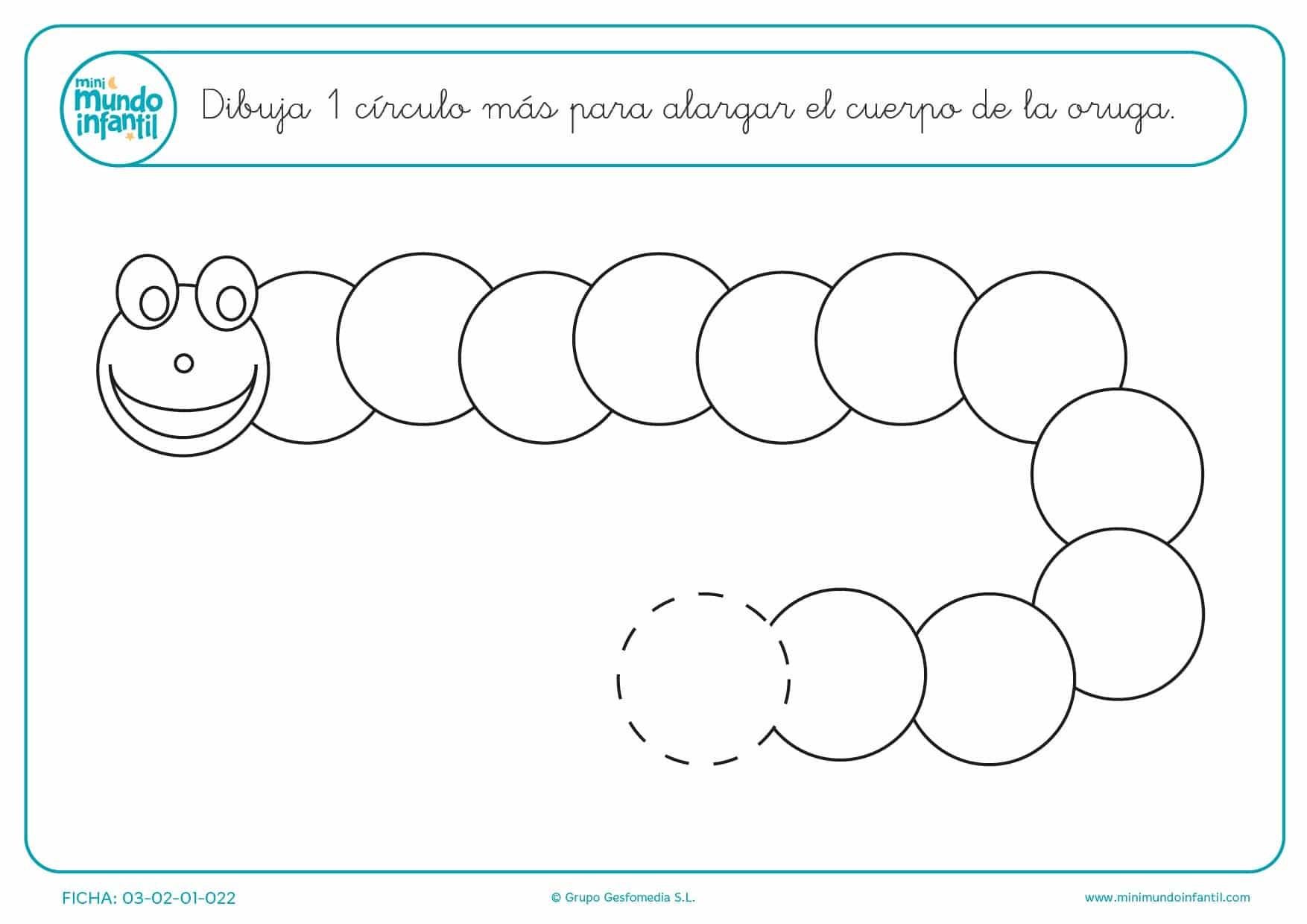 Sigue el cuerpo de la oruga con 1 círculo más para niños
