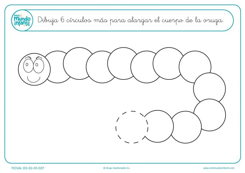 Seguir la serie y dibujar 6 círculos