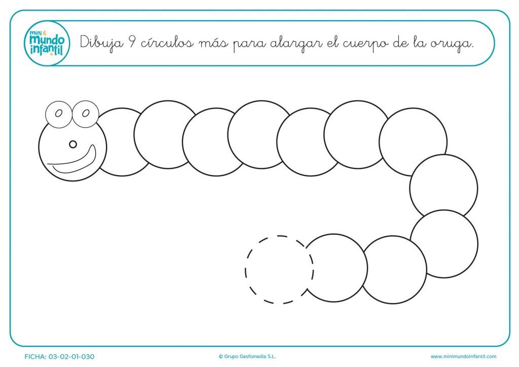 Continuar y dibujar la serie de 9 círculos
