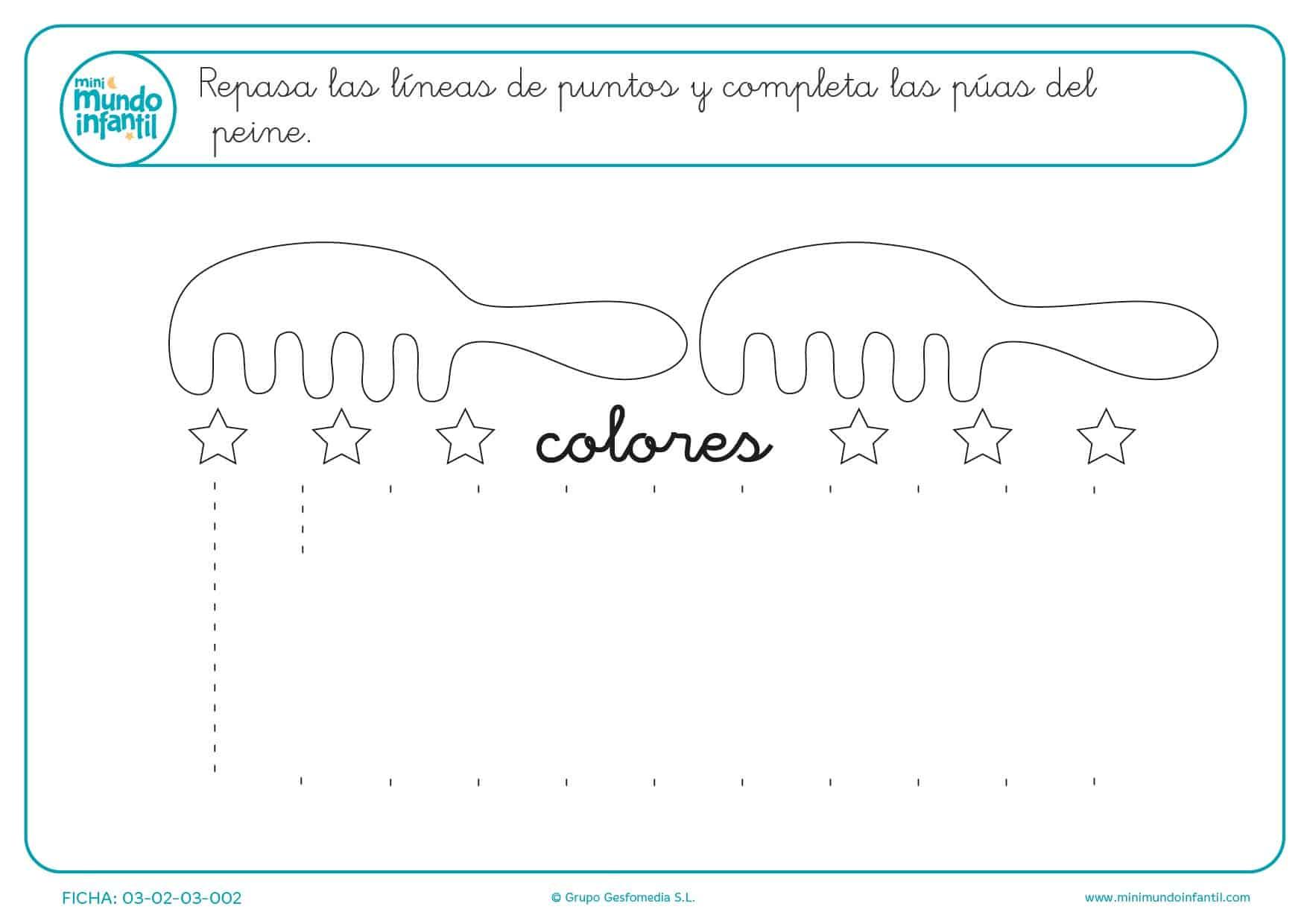 Corrige las líneas verticales del peine para prescolares de infantil
