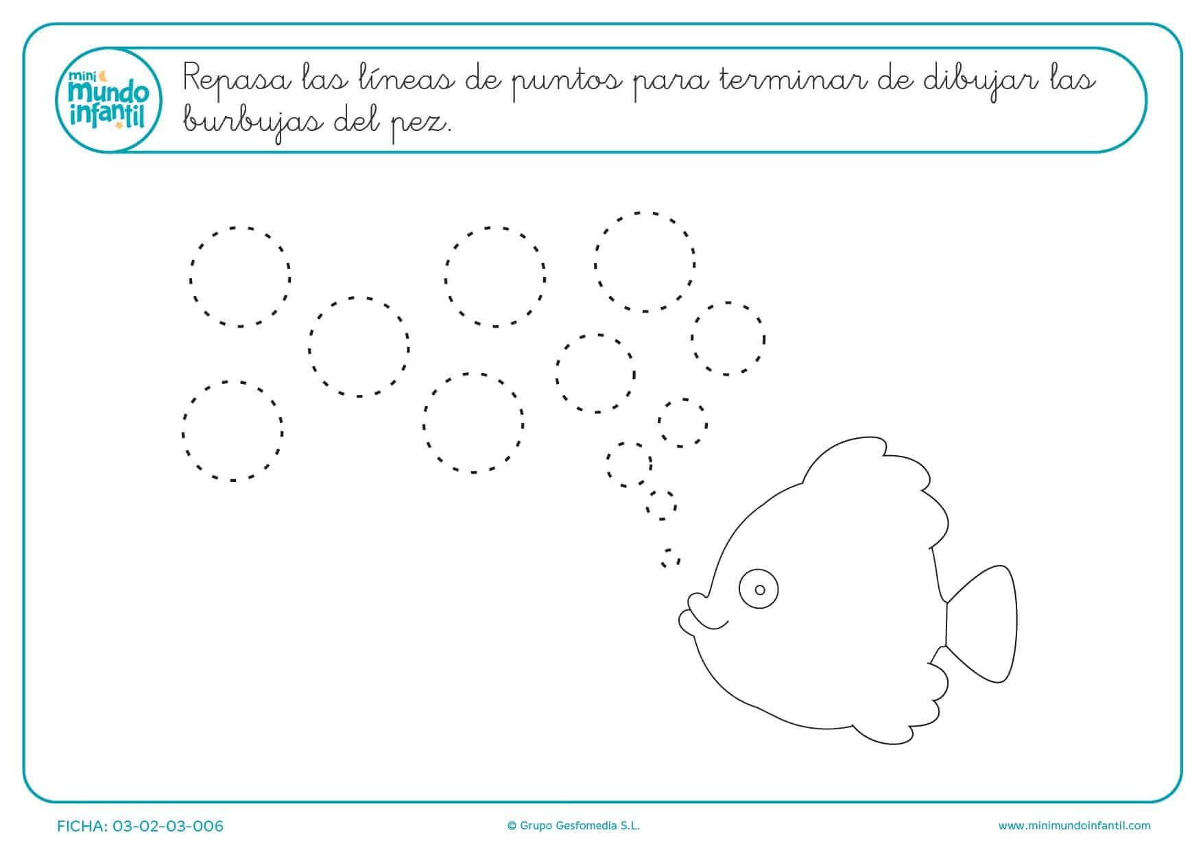 Continuar el trazado para completar las burbujas del pez