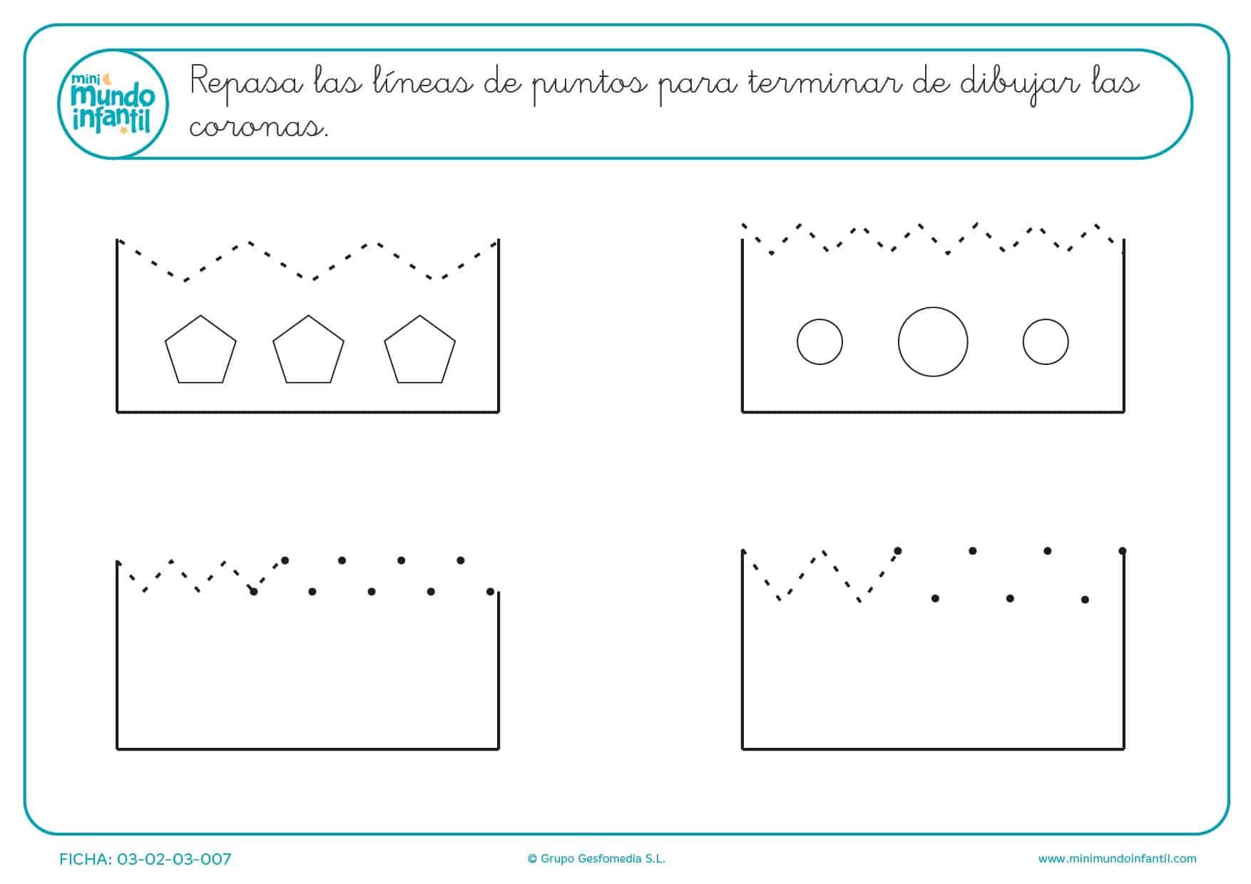 Trazar las líneas de puntos para terminar de dibujar las coronas