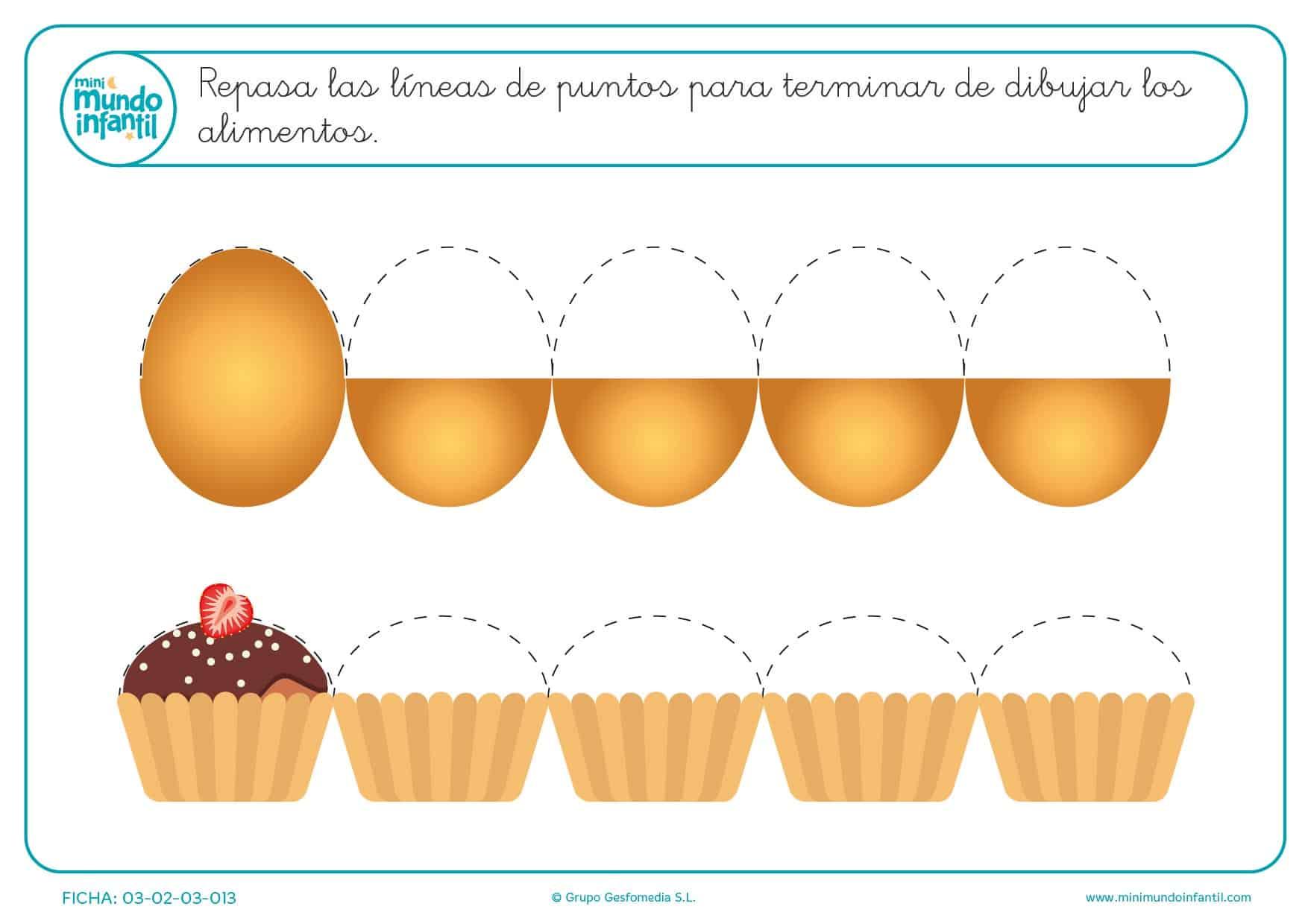 Aprender los medios círculos para dibujar el huevo y la magdalena