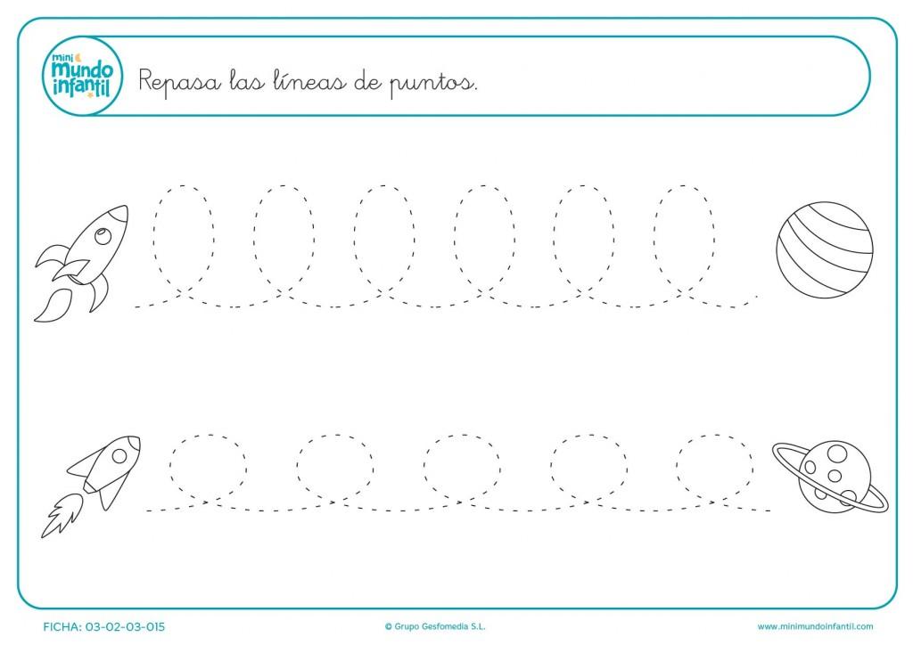 Seguir las líneas de puntos para aprender a trazar líneas onduladas