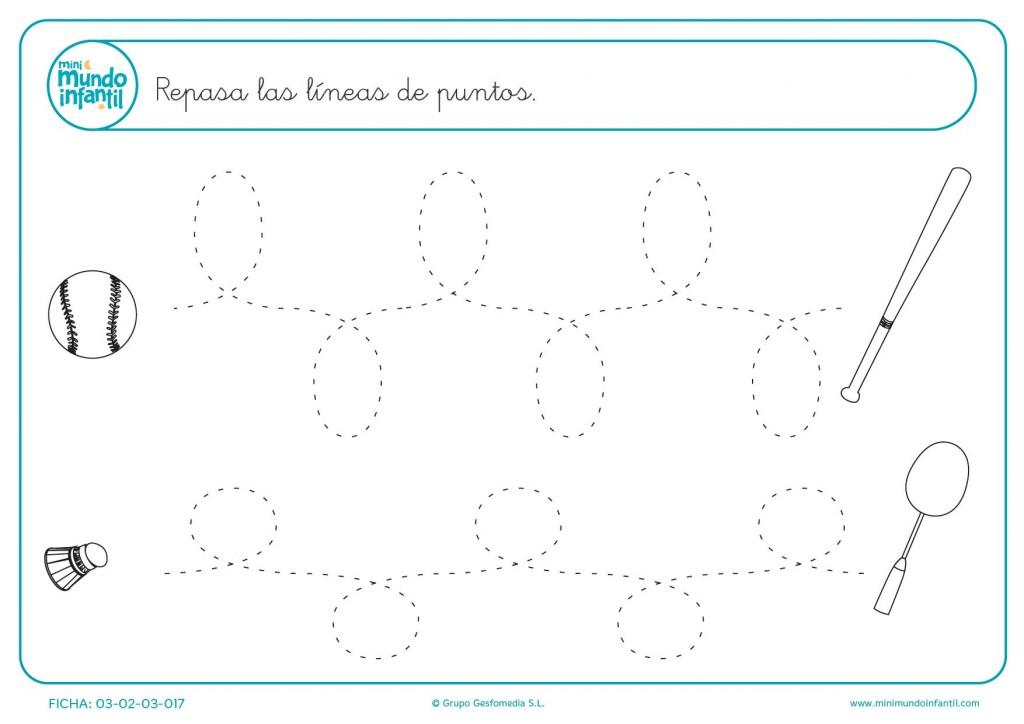 Trazar las líneas de puntos y aprender líneas onduladas