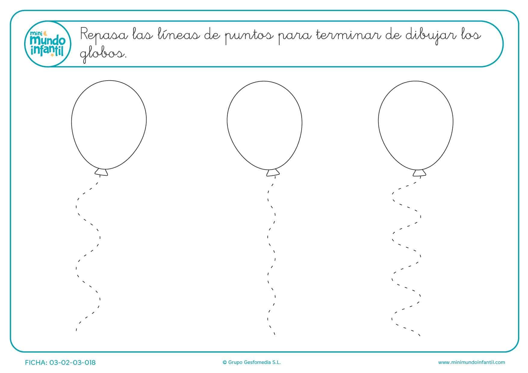 Aprender líneas en zigzag para terminar de dibujar los globos