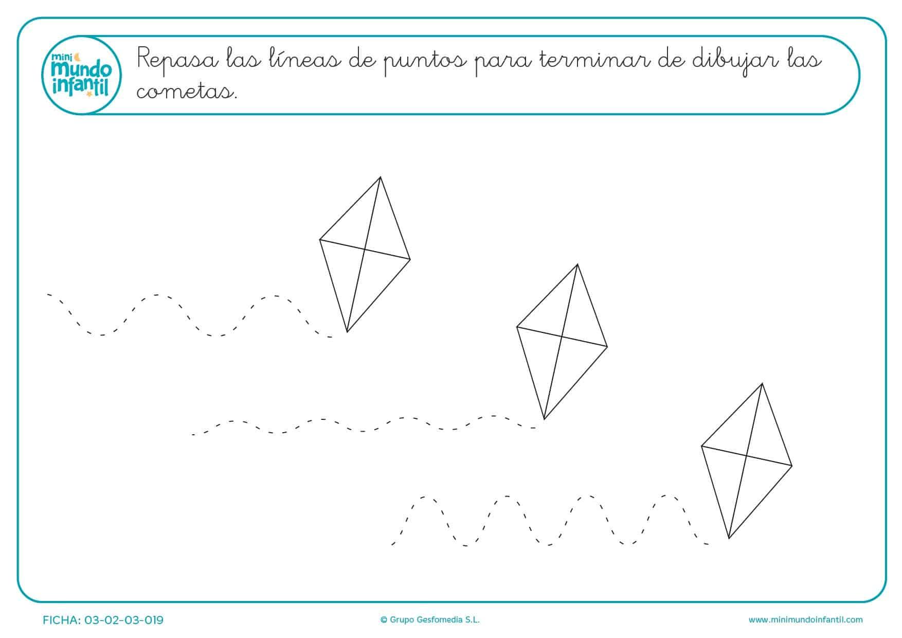 Repasar las líneas de puntos para formar y aprender líneas onduladas