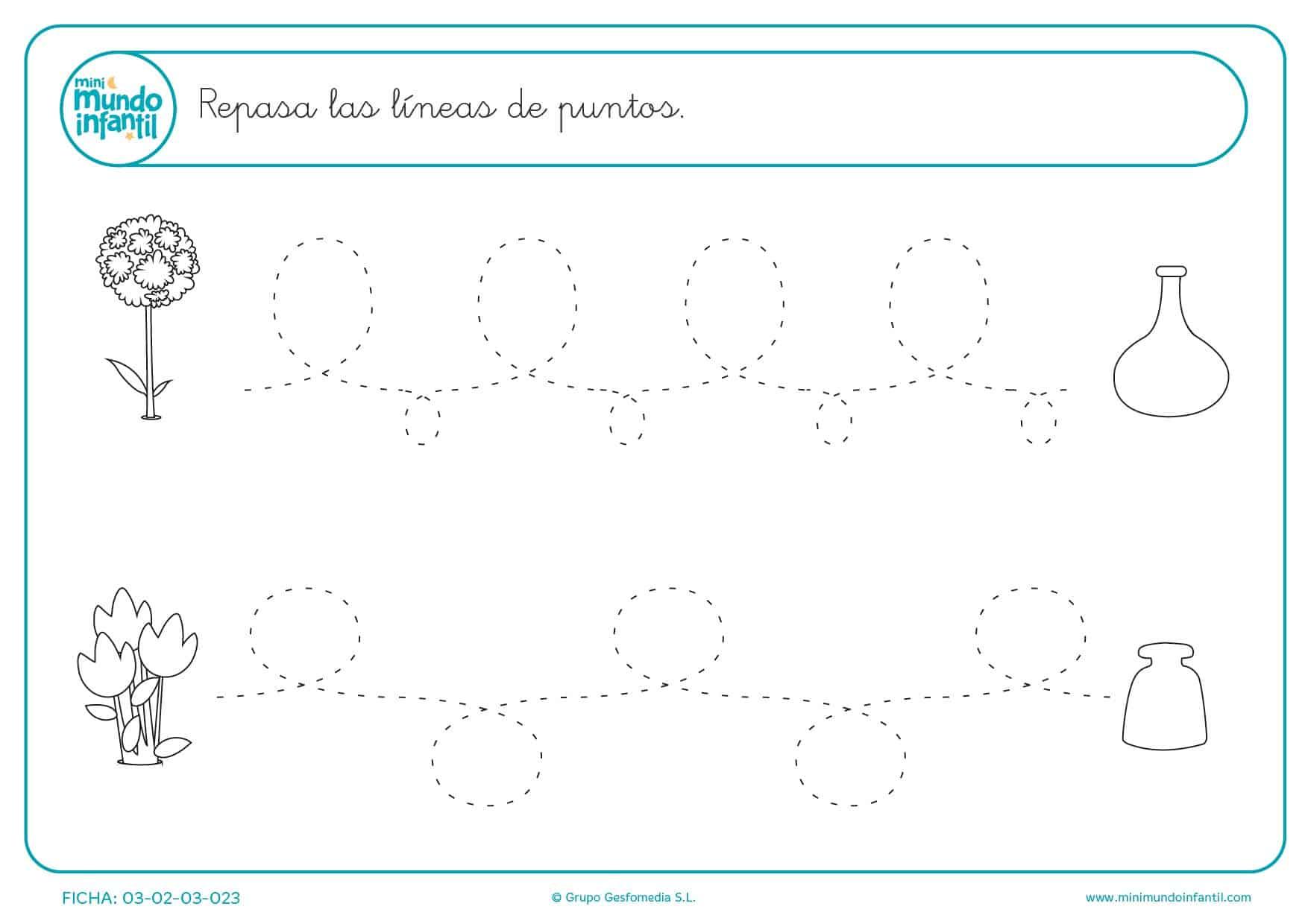 Aprender y seguir las líneas de puntos onduladas y en zigzag
