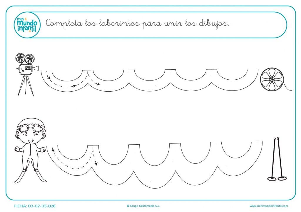 Completar los laberintos para aprender líneas onduladas