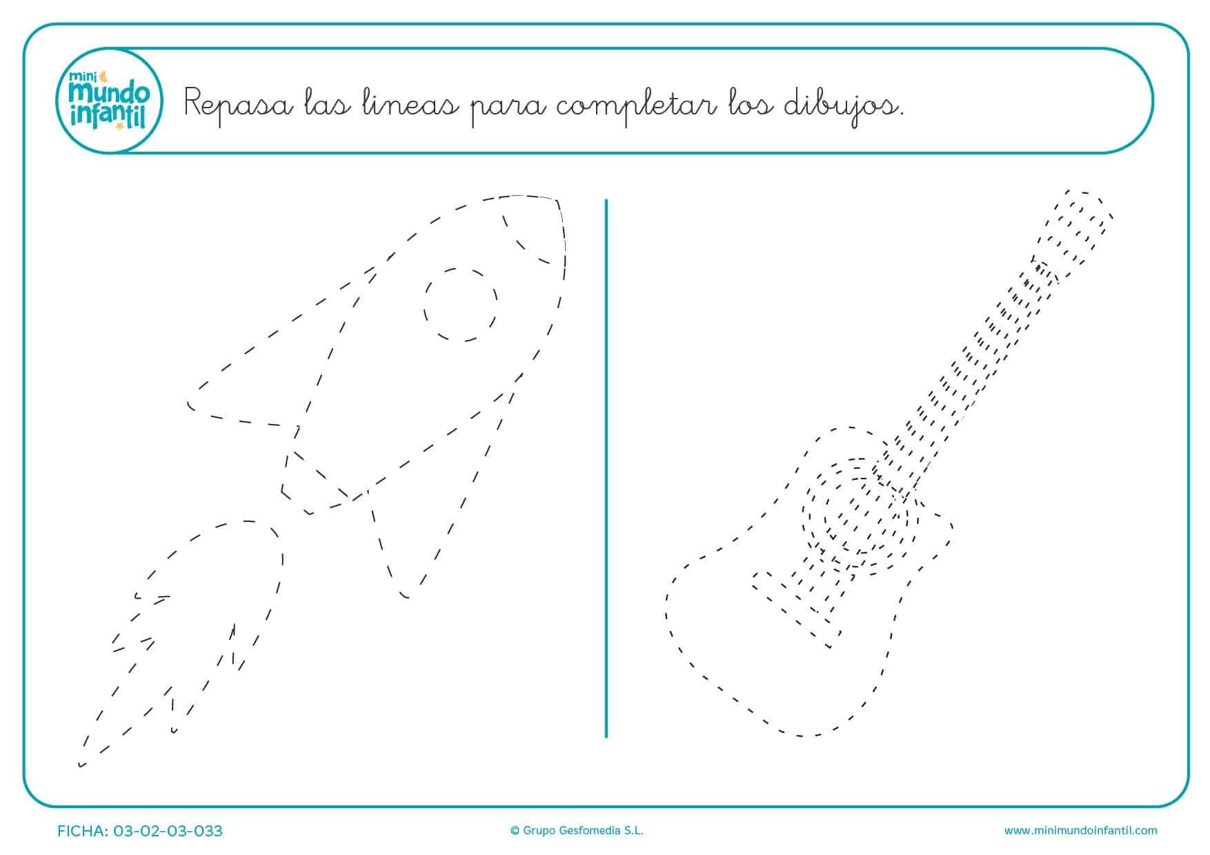 Repasar las líneas de puntos para terminar de completar los dibujos