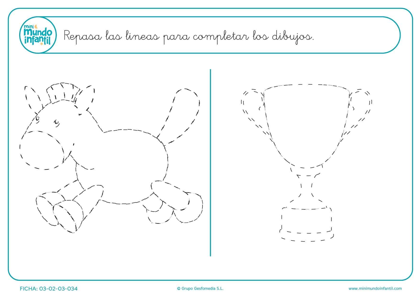 Seguir el trazado de los dibujos del caballo y la copa para completar