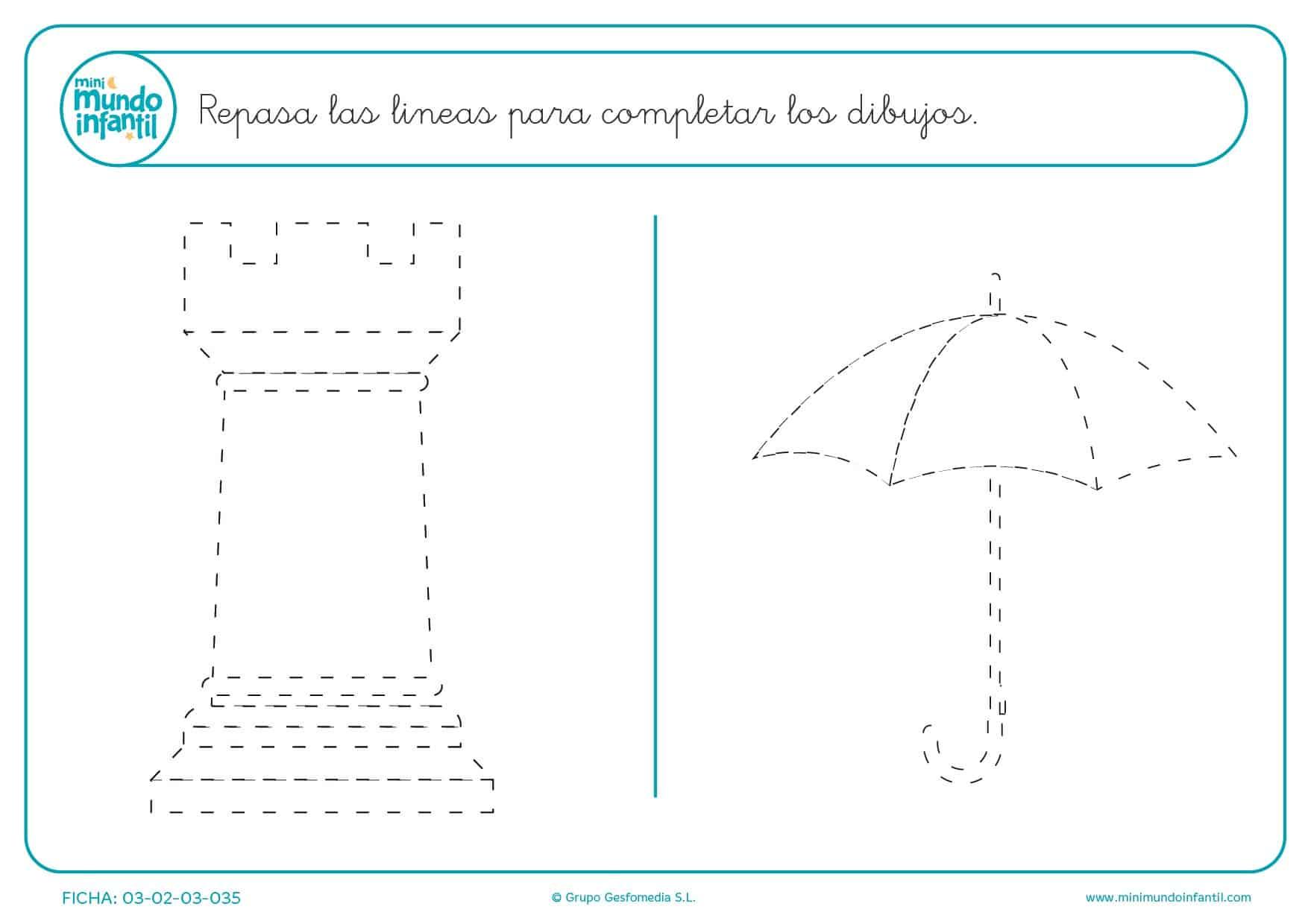 Contornear la torre y el paraguas para completar los dibujos