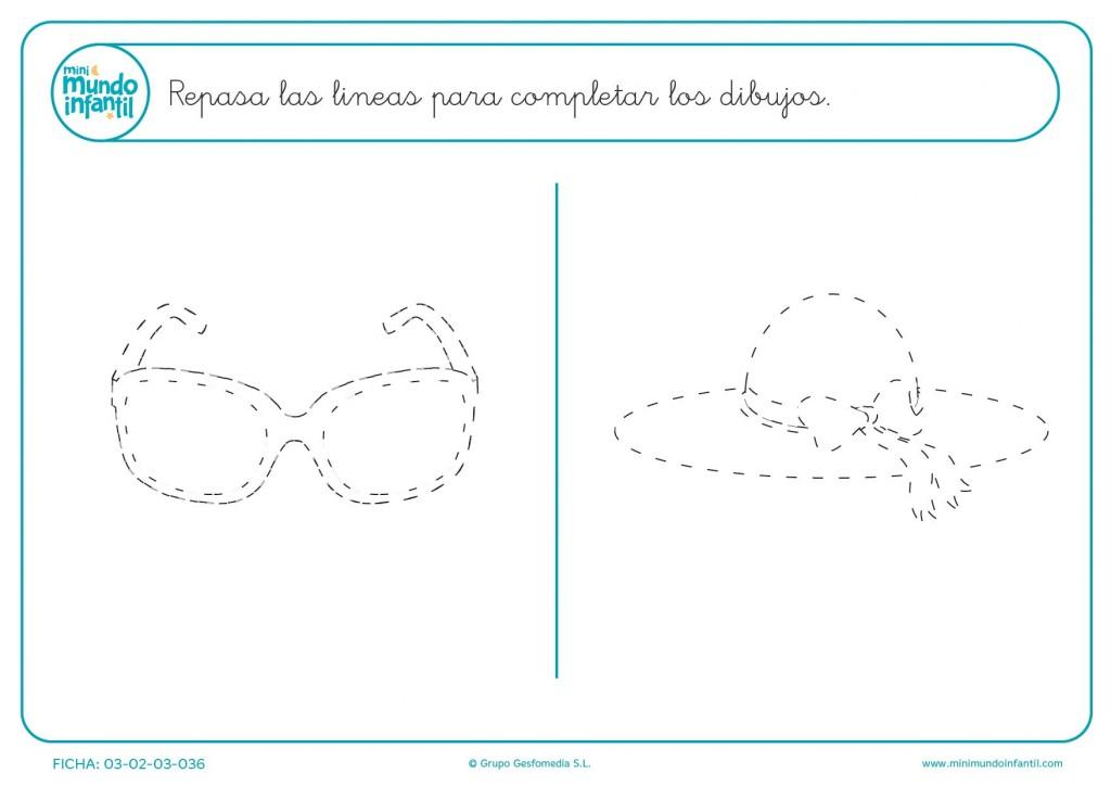 Continuar el trazo de las líneas y completar las gafas y el sombrero