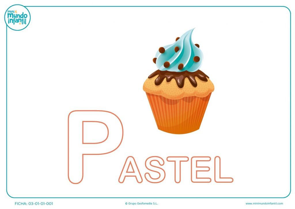 Colorear la letra P mayúscula de pastel