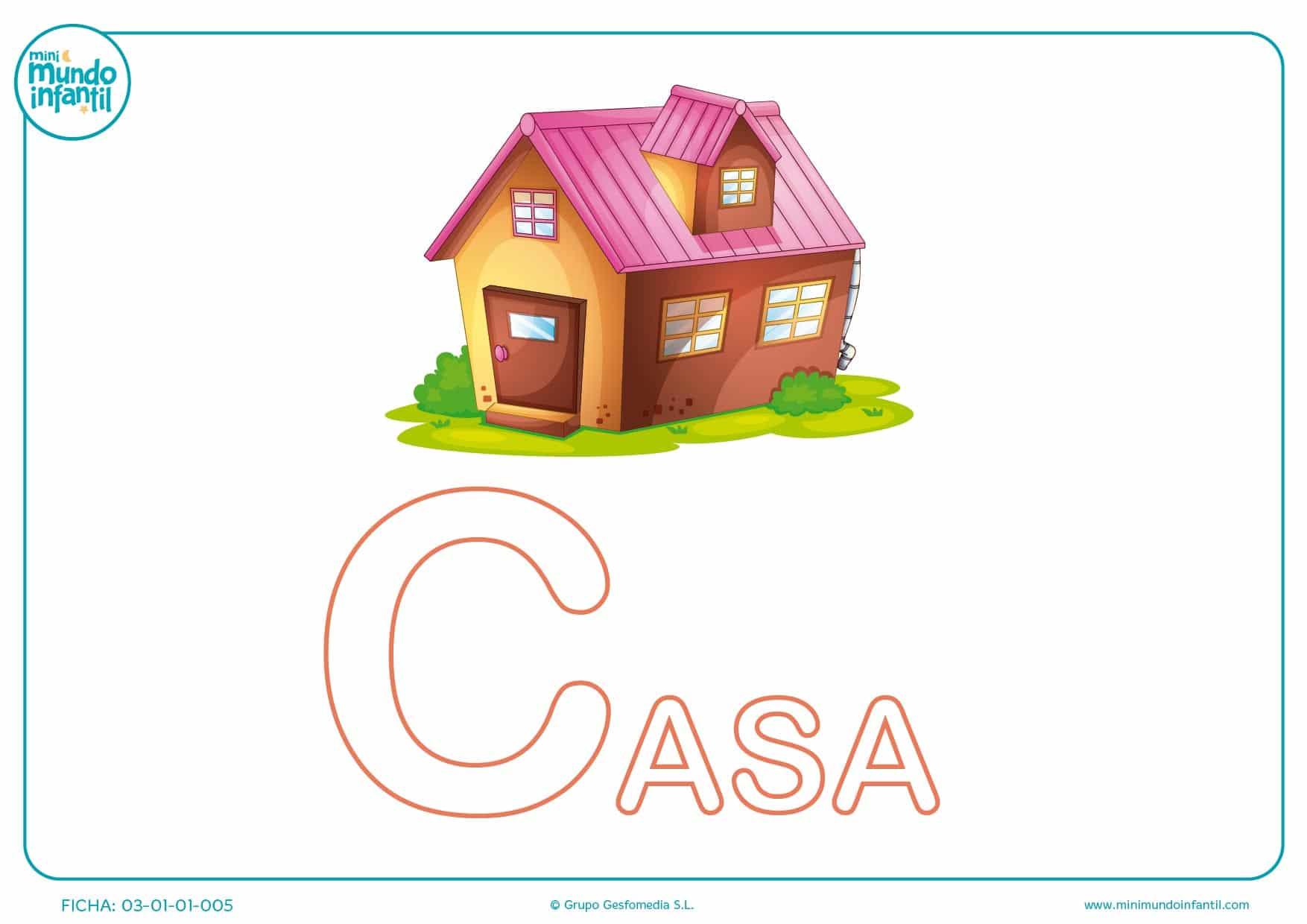 Letra C mayúscula de casa para colorear
