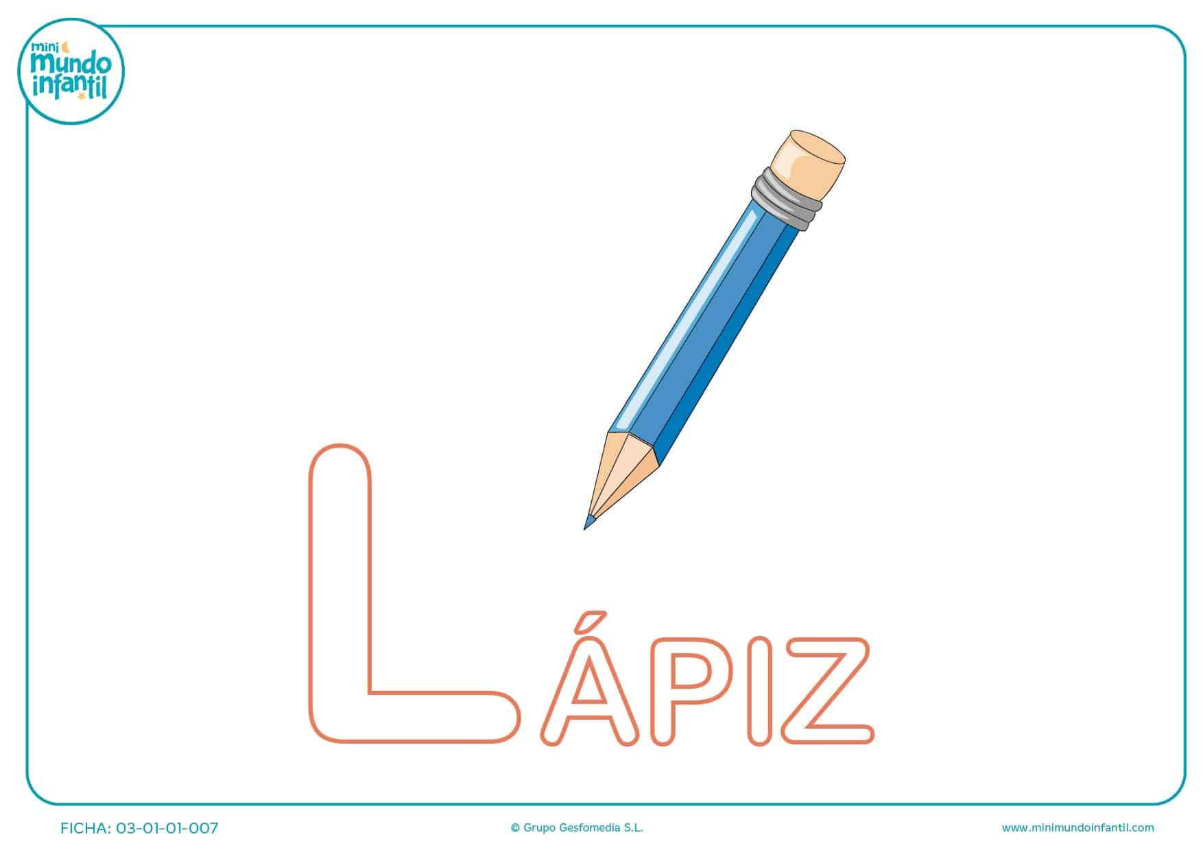 Letra L mayúscula de lápiz para pintar
