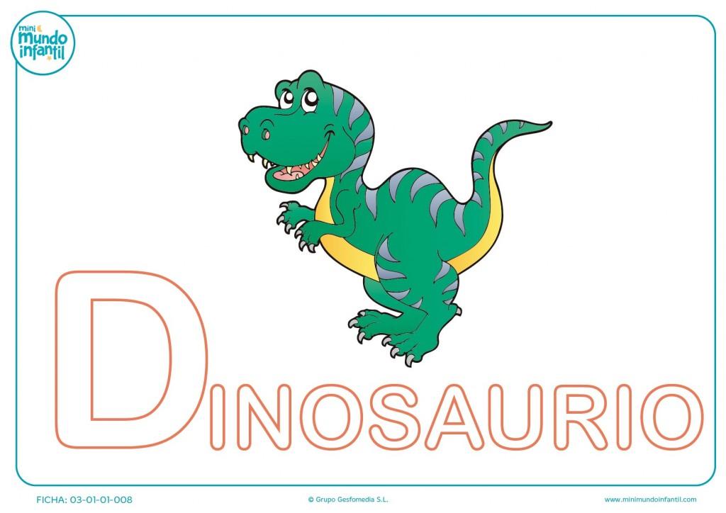 Letra D mayúscula de dinosaurio para completar