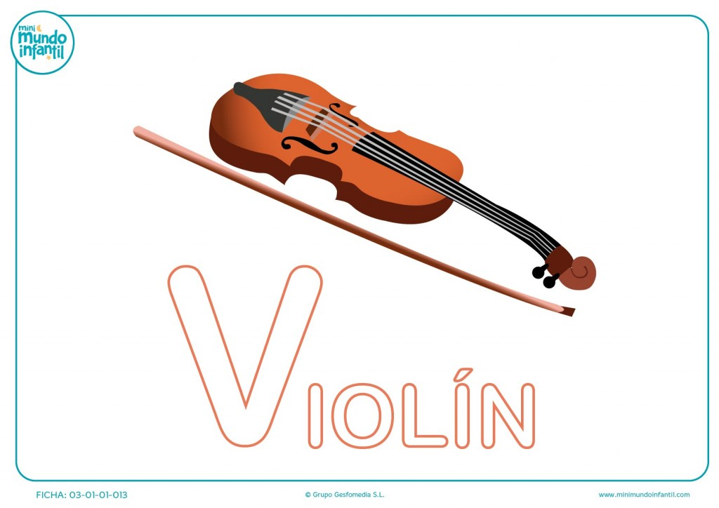 Colorear la letra V mayúscula de violín