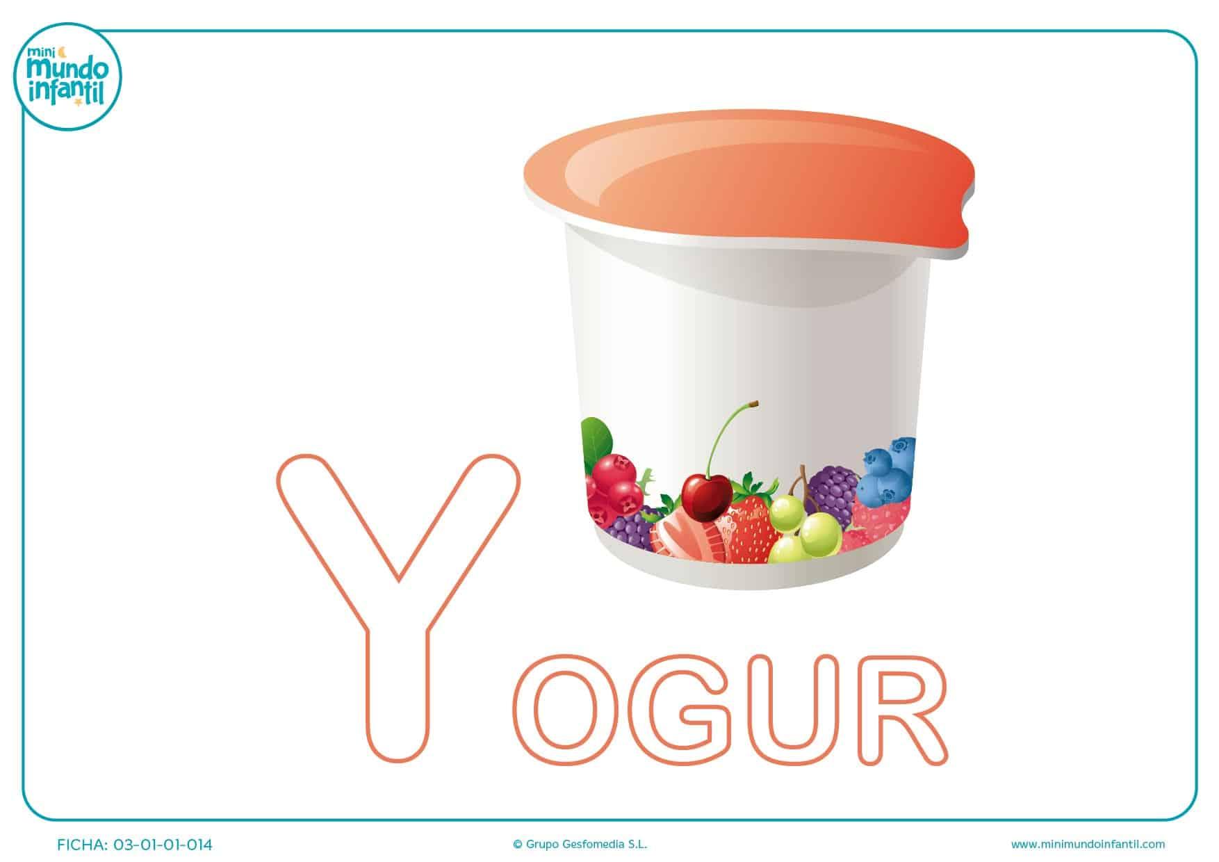 Letra Y mayúscula de yogur para colorear