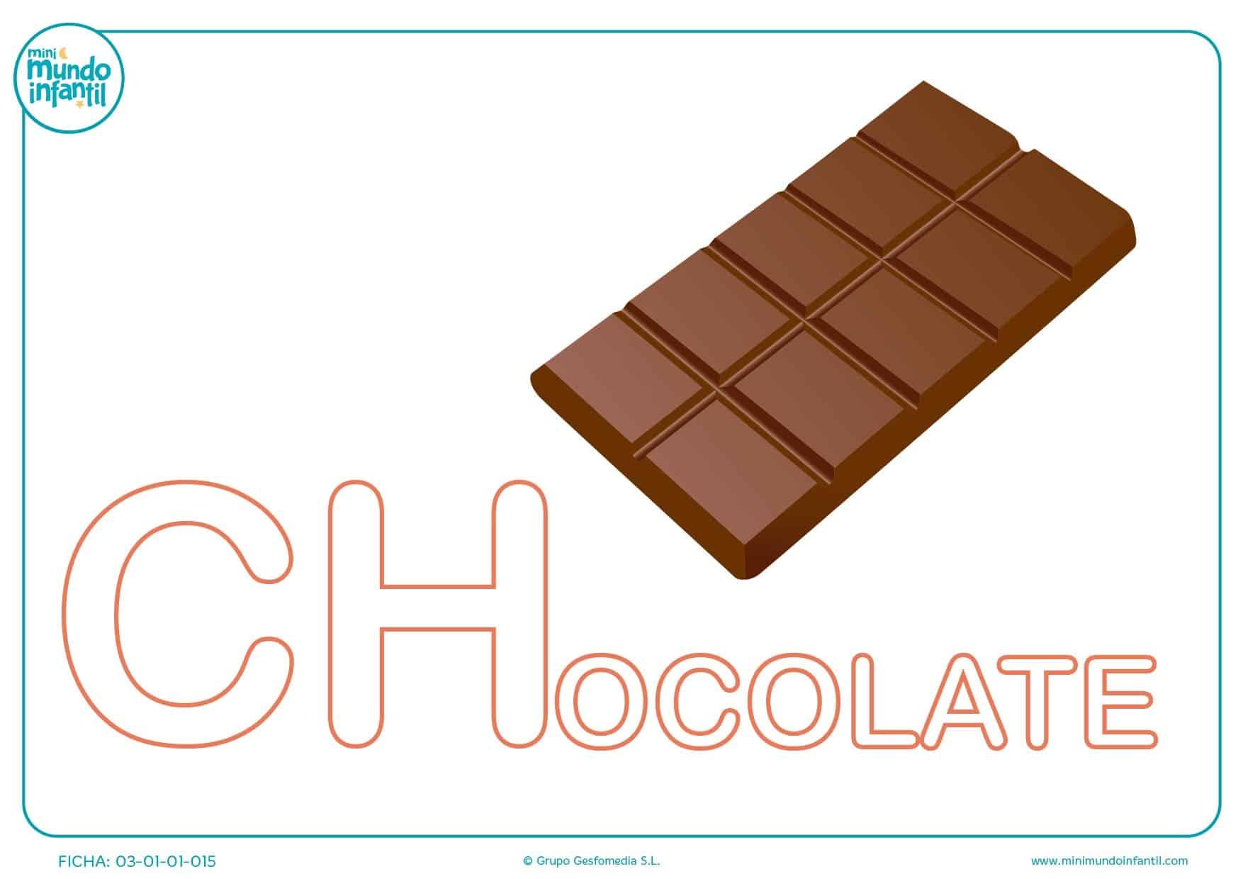 Letra CH mayúscula de chocolate para rellenar