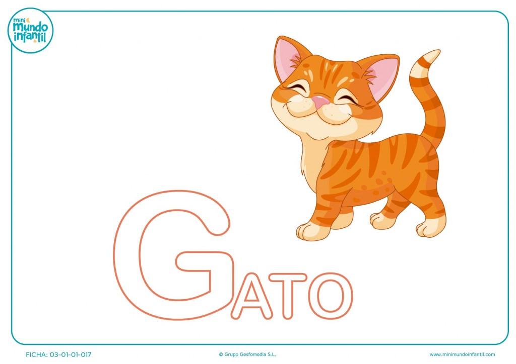 Letra G mayúscula de gato para completar