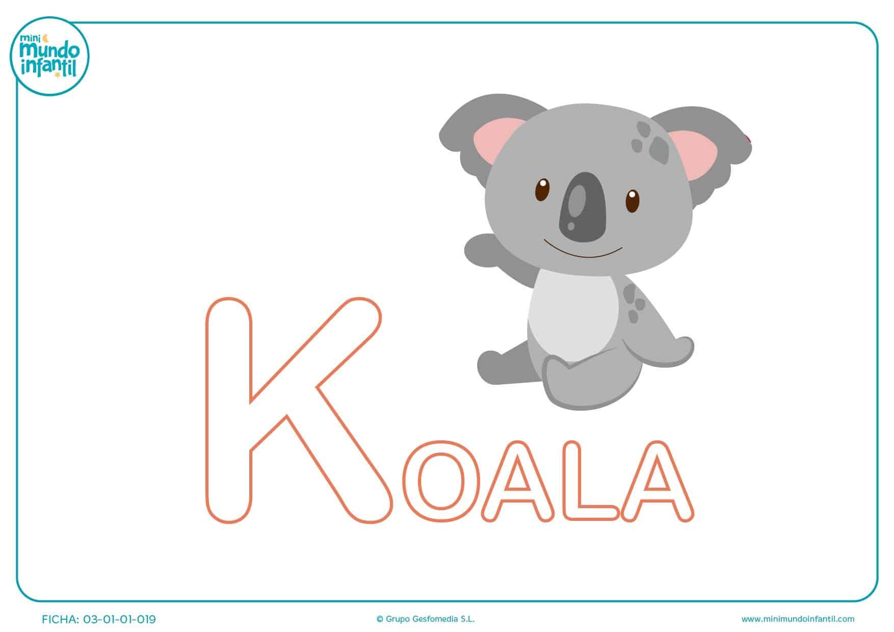Rellenar letra K mayúscula de koala