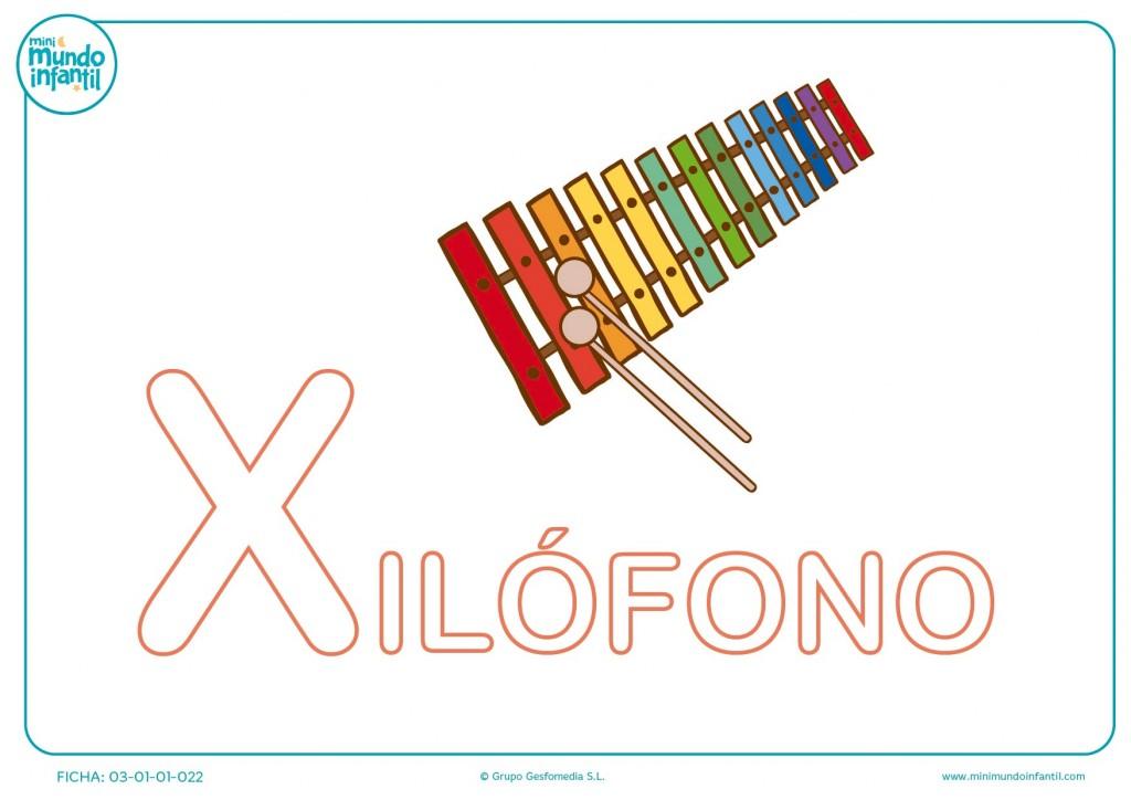 Letra X mayúscula de xilófono para colorear