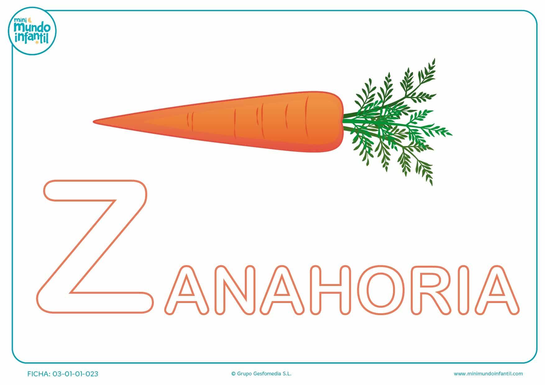 Letra Z mayúscula de zanahoria para rellenar