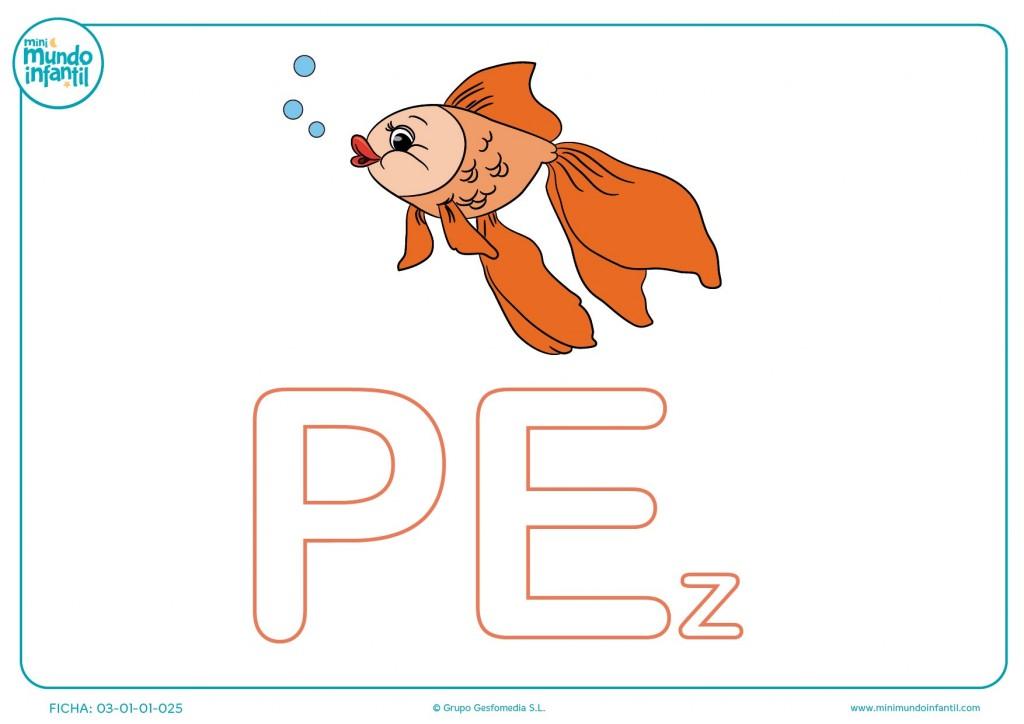 Sílaba PE mayúscula de pez para rellenar