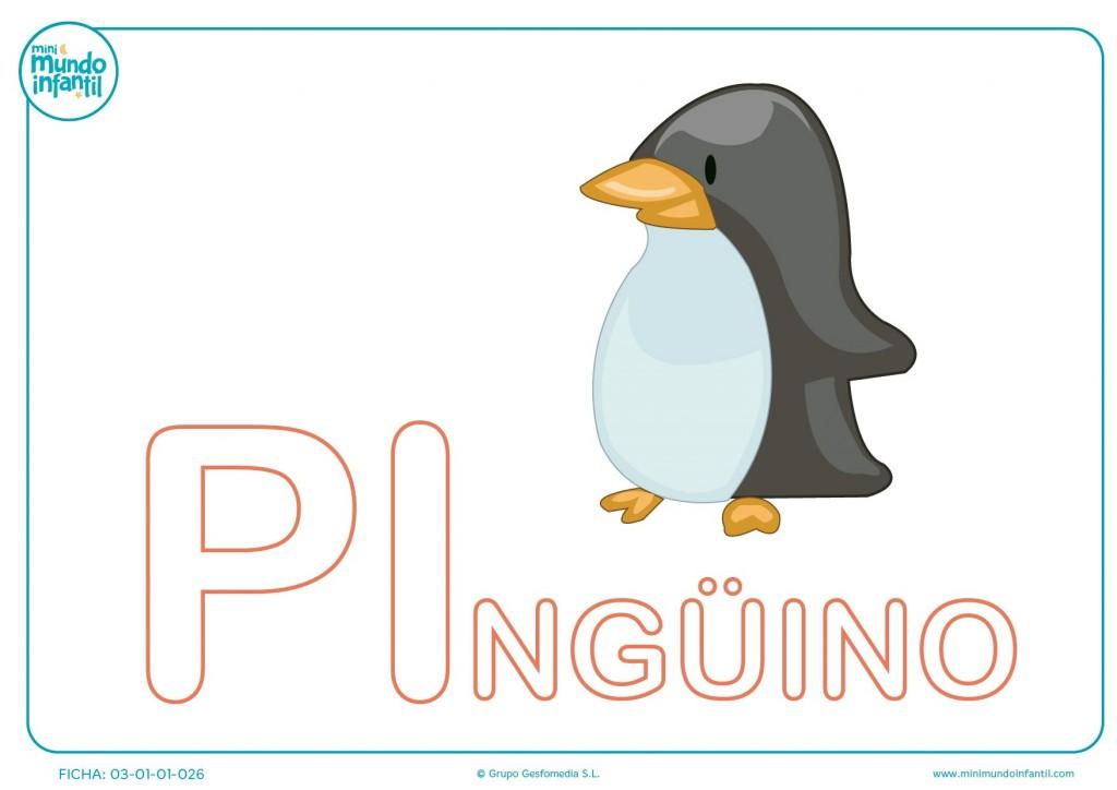 Sílaba PI mayúscula de pingüino para pintar