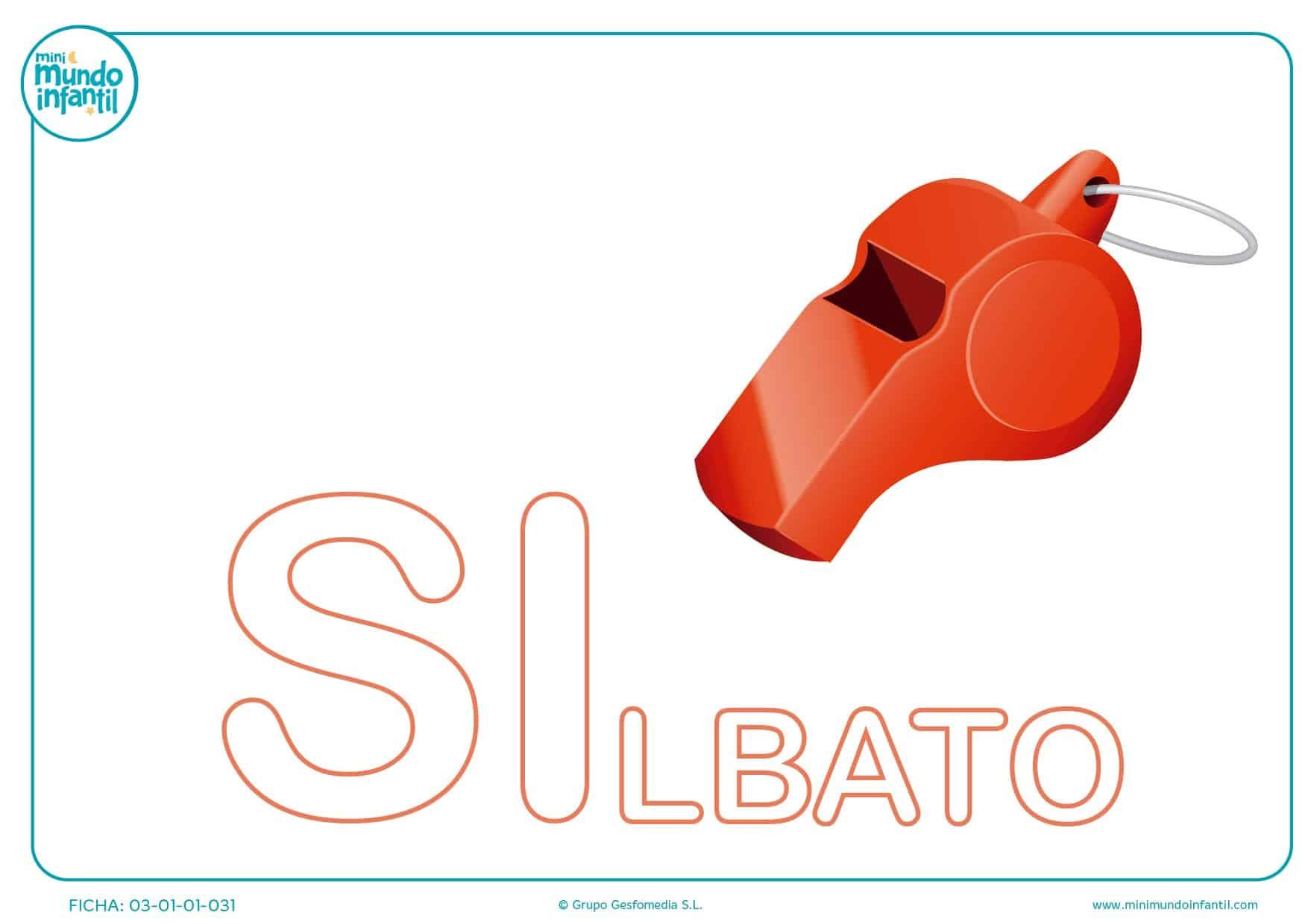 Completar sílaba SI mayúscula de silbato