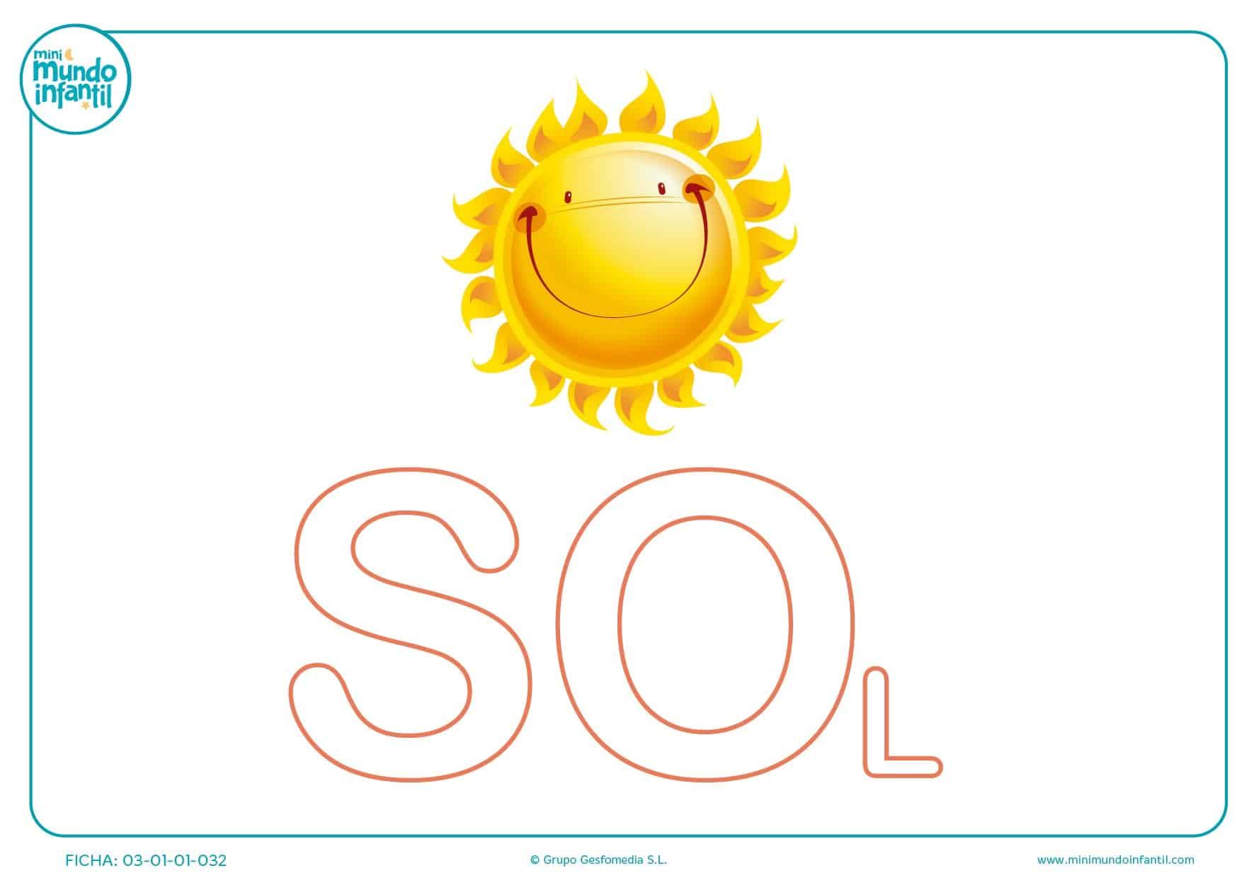 Colorear sílaba SO mayúscula de sol