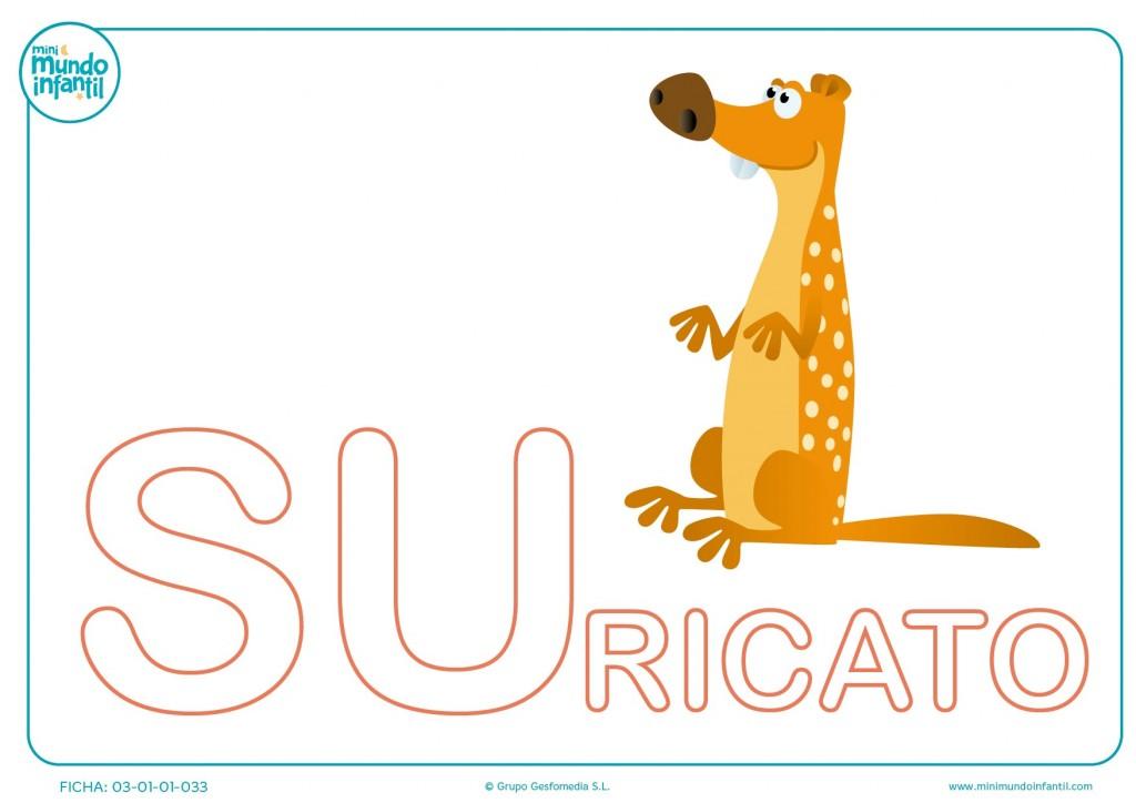 Colorea la sílaba SU mayúscula de suricato