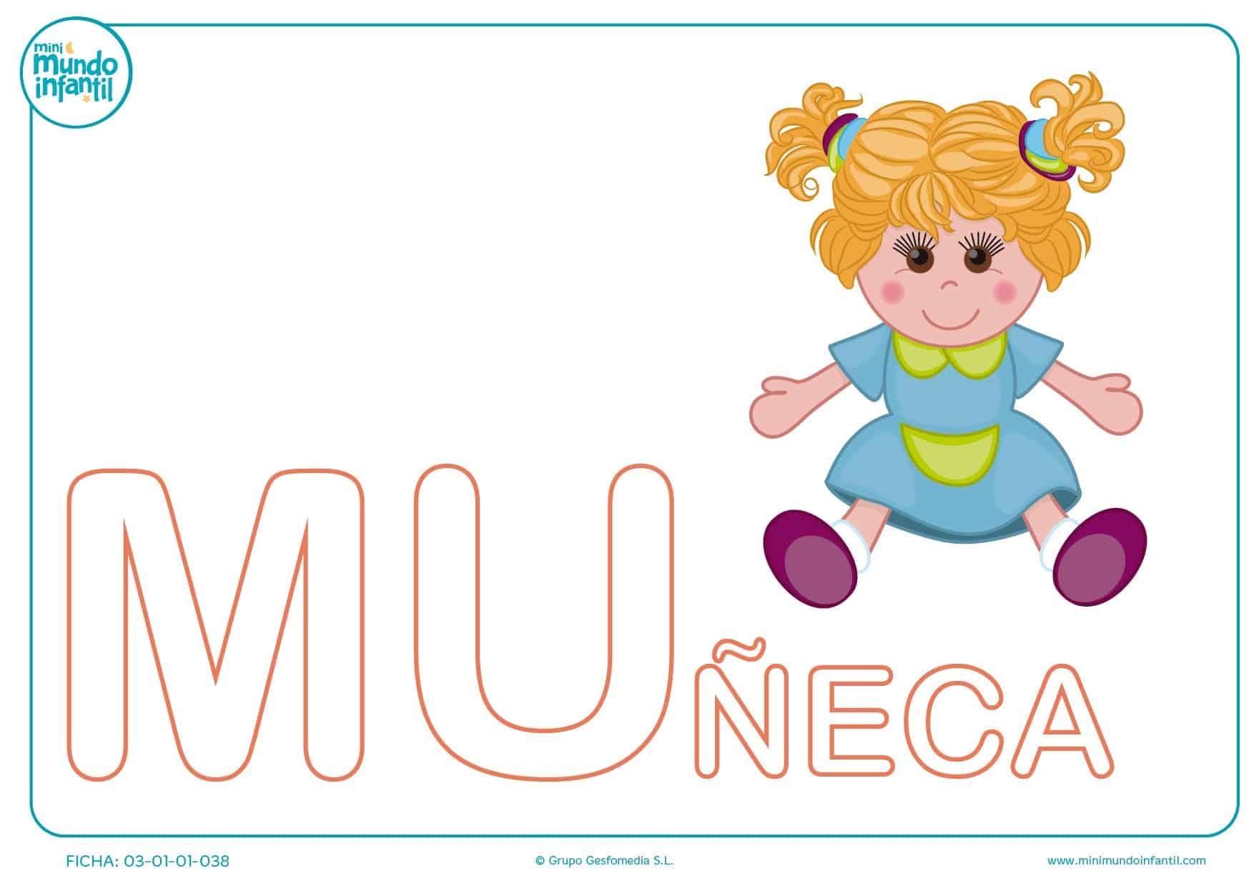 Sílaba MU mayúscula de muñeca para colorear