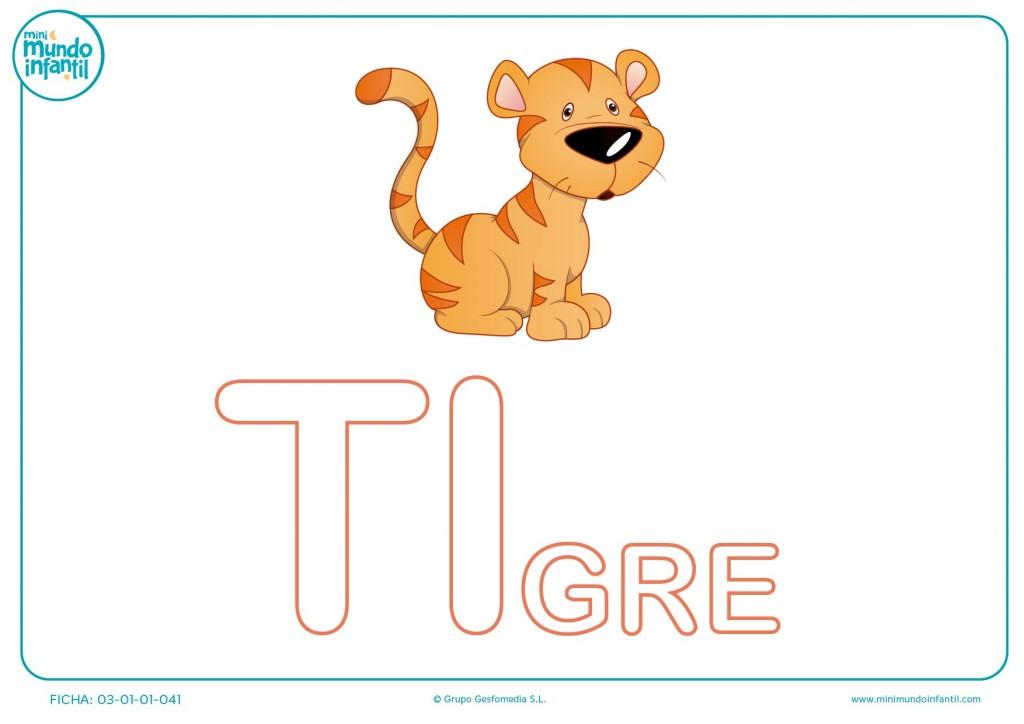 Sílaba TI mayúscula de tigre para pintar