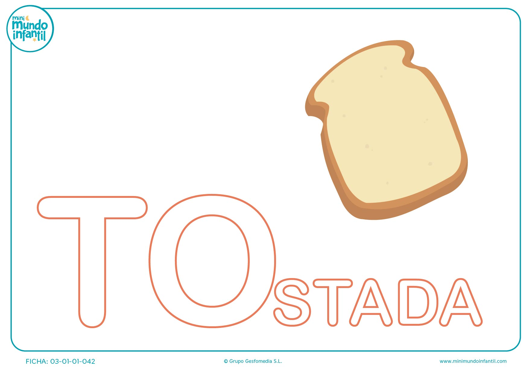 Sílaba TO mayúscula de tostada para completar
