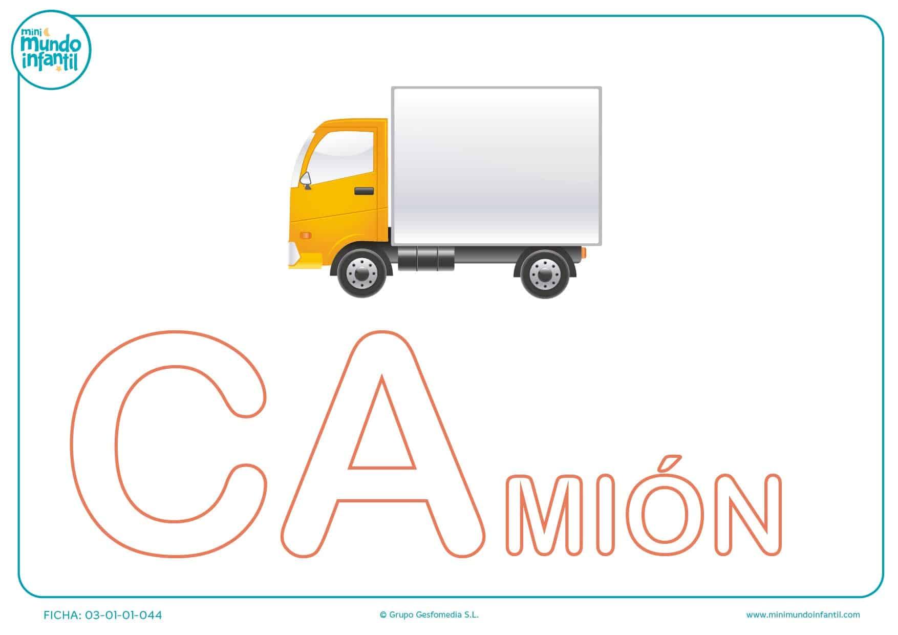 Rellenar sílaba CA mayúscula de camión