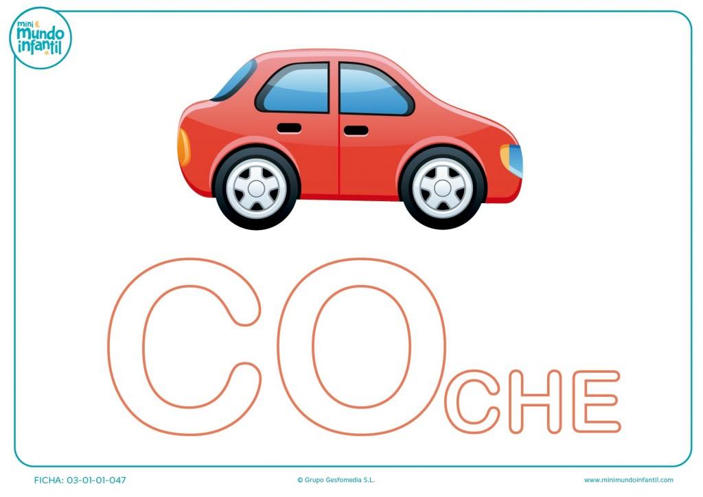 Colorear sílaba CO mayúscula de coche