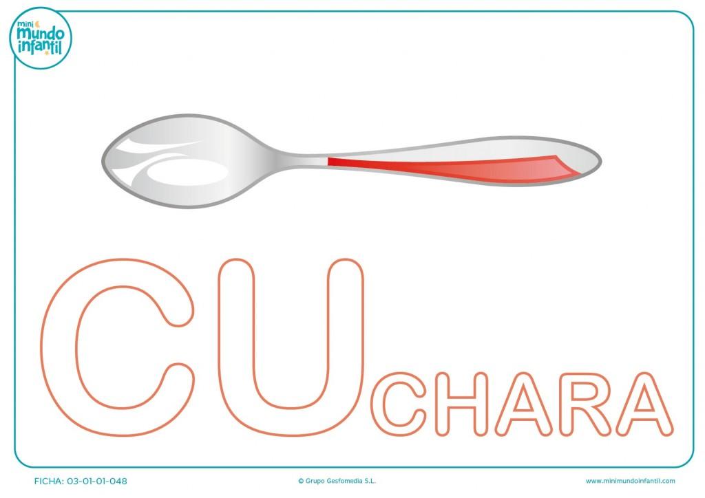Colorea la sílaba CU mayúscula de cuchara