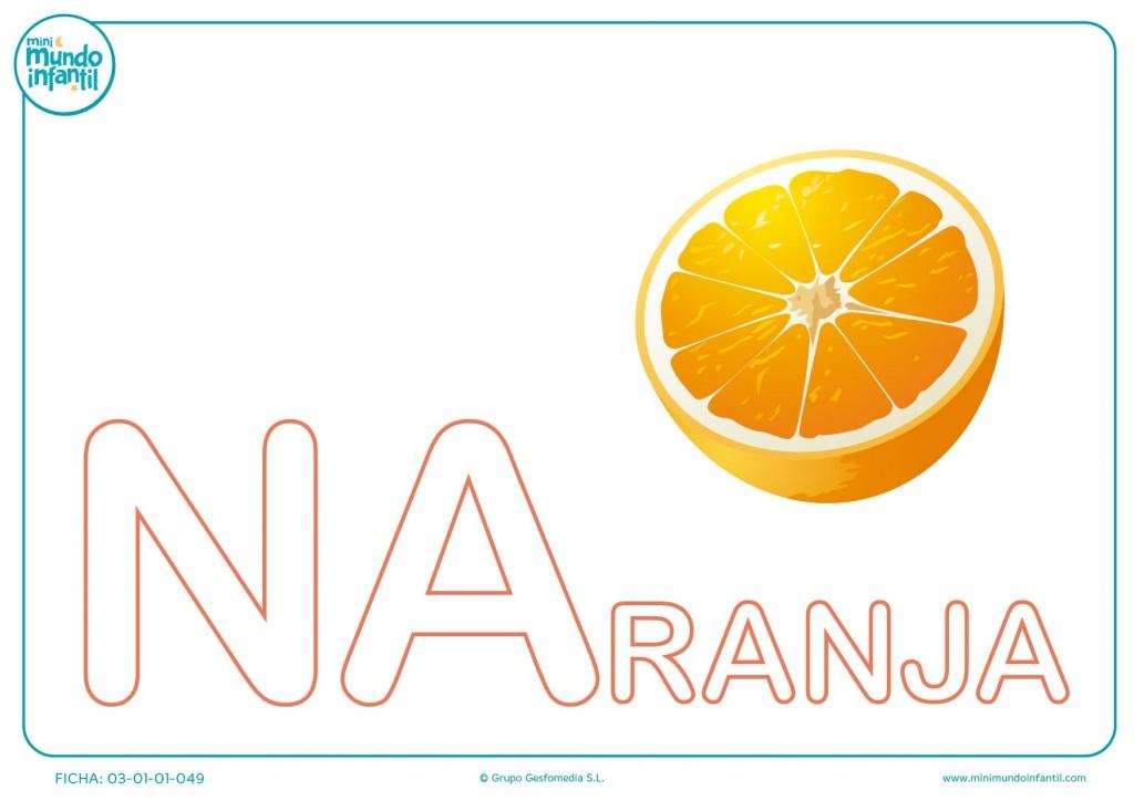Sílaba NA mayúscula de naranja para colorear