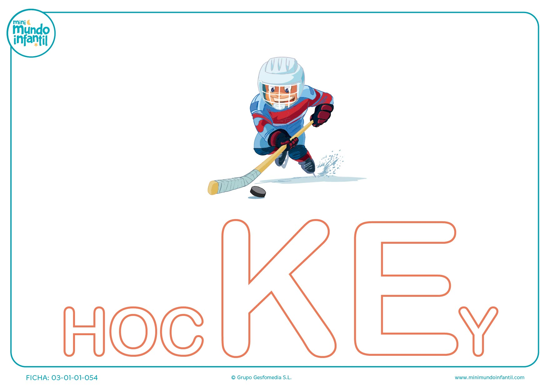 Rellenar sílaba KE mayúscula de hockey