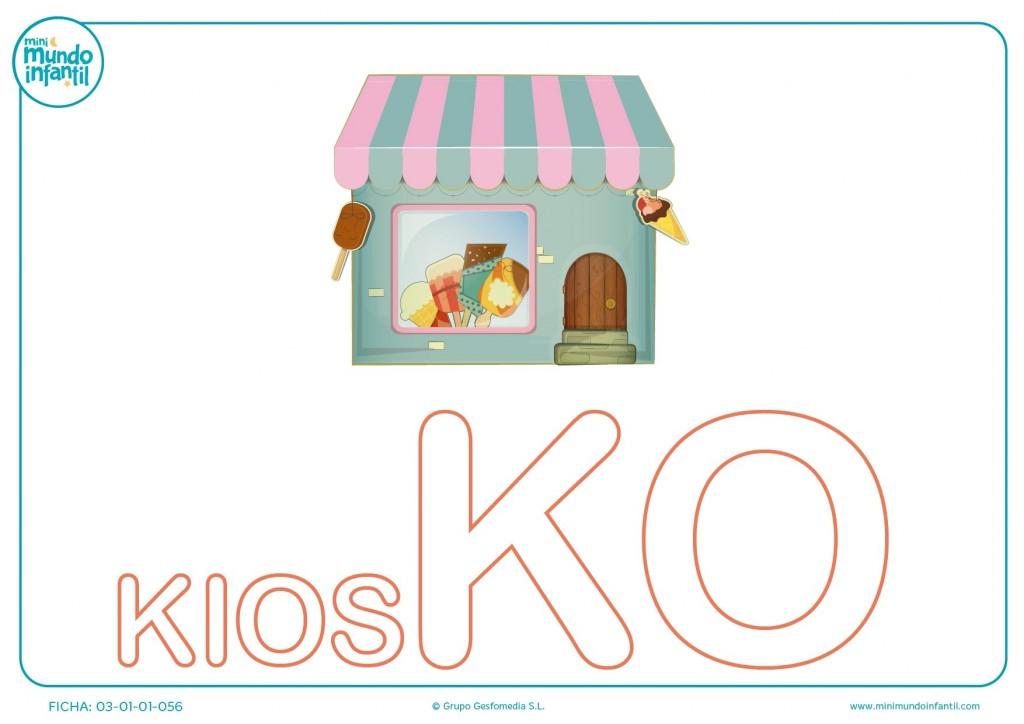 Completar sílaba KO mayúscula de kiosko