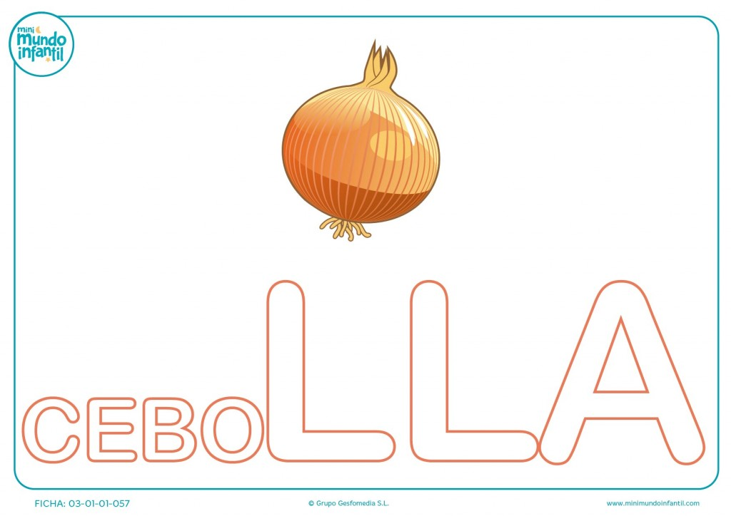 Colorear sílaba LLA mayúscula de cebolla
